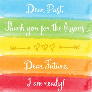 """Dear past....Dear future"" motivation watercolor poster. Text lettering of an inspirational saying. Quote Typographical Poster Template"